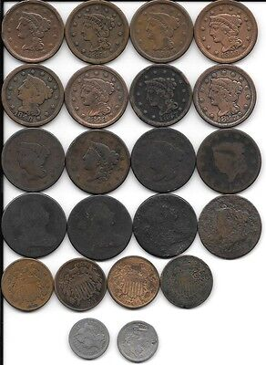 Huge Lot Of Vintage Coins Pennies. Large Cents,  2 And 3 Cent Pieces -1800-1870