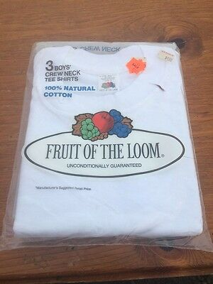 NOS VTG 1978 FRUIT OF LOOM Boys T-SHIRTS White Crewneck Sz 6 Made In USA