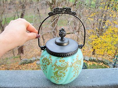 Antique Victorian Aqua Satin Glass Cracker Jar Raised Enamel Painted Design~Exqu