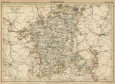 Worcester County England: Detailed 1889 Map showing Towns; Cities & Railroads