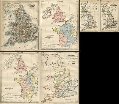 """England: FIVE Authentic 1889 Maps showing """"Modern"""" & """"Historical Progress"""""""