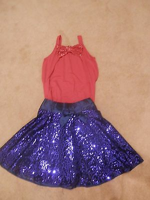 Girls Blue And Red Sparkle Skirt And Top, Age 7-10