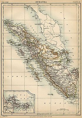 Sumatra: Authentic 1889 Map showing Provinces; Cities; Topography; Banka Strait