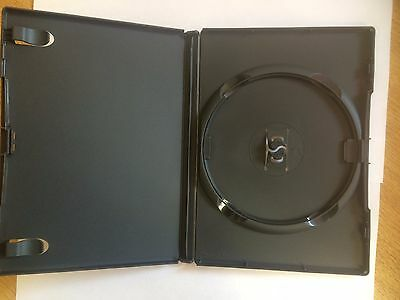100 x amaray dvd case cd case 14mm Spine with clear outer cover black genuine.