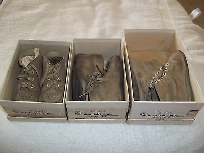 3 Pairs Vintage Baby Shoes Mrs Day's Ideal In Orig Boxes
