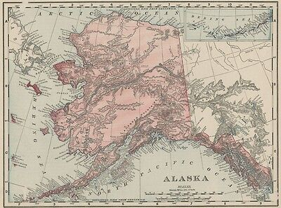 Alaska Territory Map: Authentic 1895 (Dated) Few Towns. Most Vacant & Unexplored