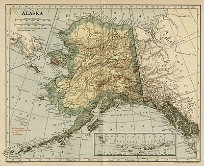ALASKA Territory Map; Authentic 1907 (dated) Keyed to Gold Mining: Towns Few RRs