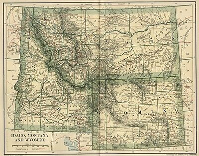 IDAHO, MONTANA & WYOMING Map: Dated 1891;Towns, Counties, RRs & 1890 Populations
