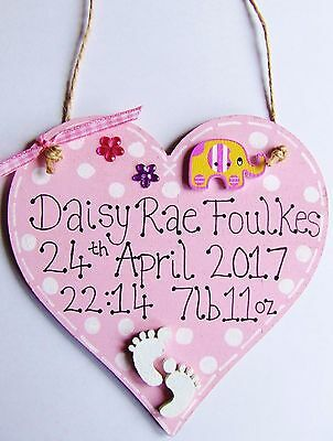 Personalised Handmade Heart Plaque Sign New Baby Boy Girl Birth Keepsake Gift