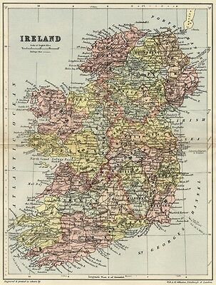 Ireland Map: Authentic 1895; shows Counties, Towns, Topography, RRs, +