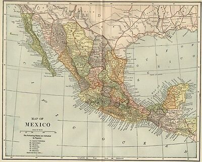 Mexico Map: 1891 Showing States, Cities, Towns, RRs, Topography