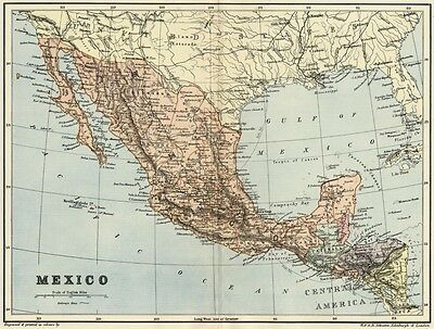 Mexico Map: Authentic 1895; showing States, Towns, Cities Topography Railroads