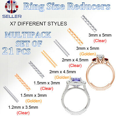 Ring size reducer clip ADJUSTER RESIZER 21pcs For Loose Rings Gold Silver Guard