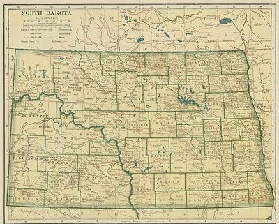 North Dakota Map: 100 Years Old showing Counties, Towns, Topography, Railroads