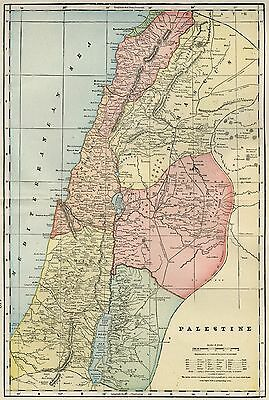 "PALESTINE Map: Authentic 1899; showing Biblical & ""Modern"" Palestine"