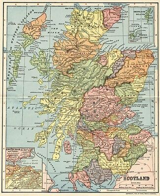 Scotland Map: Authentic 1903 (Dated) Towns, Cities,  Railroads: Edinburgh Inset
