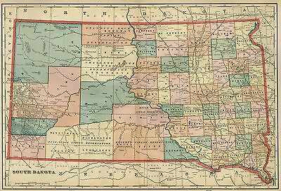 SOUTH DAKOTA Map: Authentic 1899; Counties, Cities, Towns, RRs, Topography