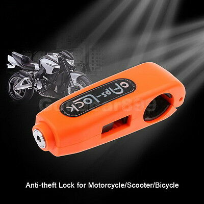 Motorcycle Bike Handlebar Grip Brake Lever Lock Anit Theft  Caps-Lock Orange NEW