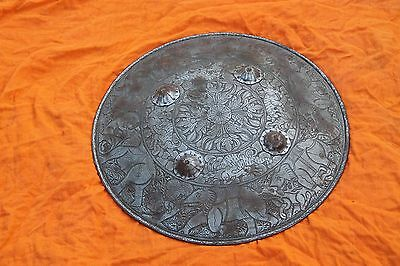 Rare Vintage Indo-Persian Antique Mughal Islamic Ottoman Iron Shield/ Dhal