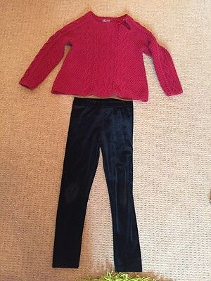 Girls Jumper And Leggings Outfit Age 5 By M And S And Designer Shrinking Violet