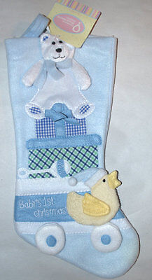 Babys First Christmas Stocking Baby Boy blue Stocking bear duck Soft