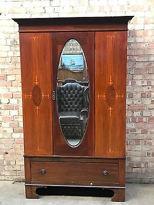 Antique Victorian Inlaid Mahogany Mirror Door Wardrobe By Furlongs Ltd