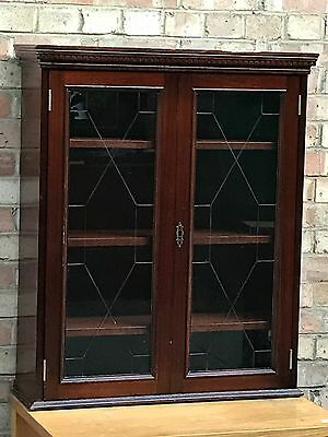 Antique Wall Mount Bookcase Bevelled Glass