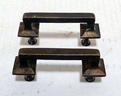 Pair of antique vintage square Mission style drawer pulls solid heavy brass VYGD