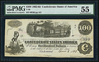 1863 $100 Confederate Currency T-40  PMG 55