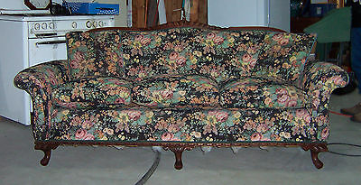 Vintage Carved Wood Sofa Couch