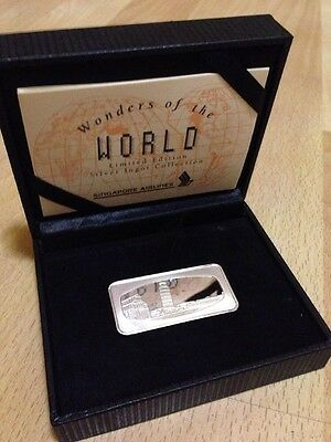 Leaning Tower Of Pizza -SINGAPORE AIRLINES SILVER PROOF INGOT- boxed/coa