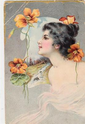 U15.Antique Postcard.Glamour. Woman and Nasturtiums. Flowers