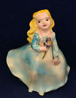 Vintage Hand Painted Porcelain Girl in Blue Figurine