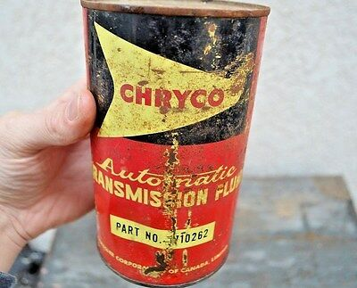 Vintage Chryco ATF 1 Quart Oil Can Chrysler Sign Car Garage Transmission Fluid