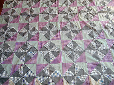 "Antique Pinwheel pattern Quilt top 72""x81"" early fabrics, Pretty colors"