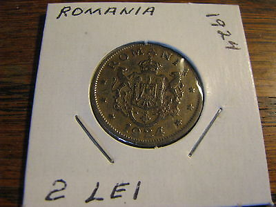 1924 2 Lei Romania Coin    Lot # WC DF