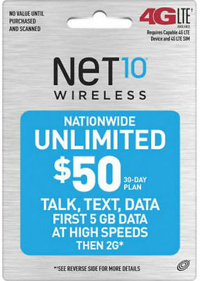 Genuine Net10 $50 Unlimited 30 Days Refill Card Cheaper Than $40