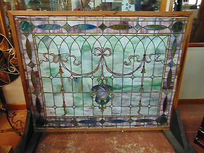Antique Stained Glass Large Window Architectural Salvage Bellflower Pattern