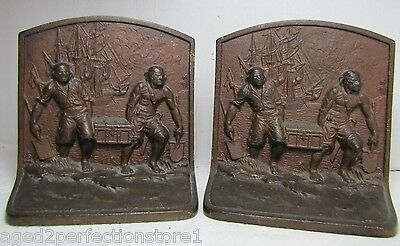 Antique HUBLEY Cast Iron PIRATES Bookends marked 213 treasure chest ship ornate