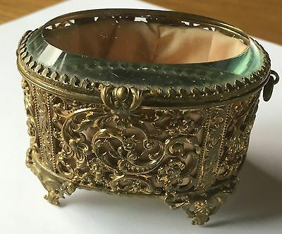 Estate Antique Gilt Ormolu Filigree Bevelled Glass Pink Silk Jewelry Casket Box