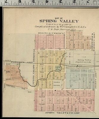 Spring Valley, Minnesota: Authentic 1874 Hand Colored Street Map