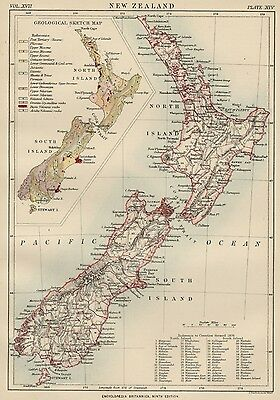 New Zealand: Authentic 1889 Map showing Counties; Cities; Geological Sketch