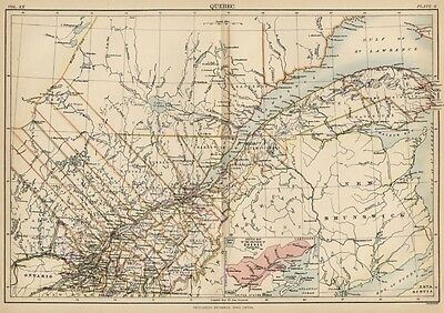 Quebec Canada: Authentic 1889 Map showing Cities; Towns; Districts; Topography
