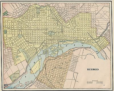 Richmond Virginia Street Map: Authentic 1887; Stations, Landmarks & more
