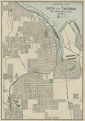 Tacoma Washington Street Map: Authentic 1899; with Landmarks, Stations, More
