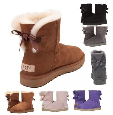 Authentic UGG Women's Shoes Mini Bailey Bow Boot Chestnut 5 6 7 8 9 10 11 New