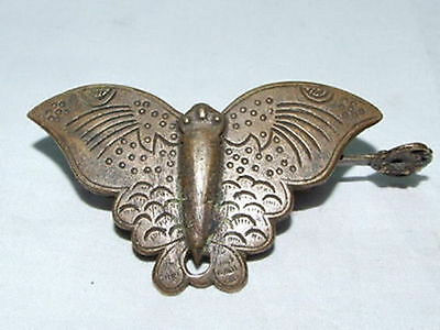 10 cm */ Rare Chinese Old Style Brass Carved Butterfly Lock And Key