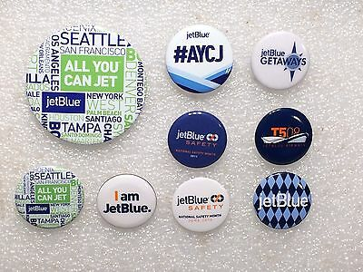 """Lot of 9 JetBlue Airways Promotional Pins: Large """"All You Can Jet"""", JFK T5"""