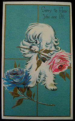 Vintage Sorry You're ILL Greeting Card Gilded Embossed Poodle with Roses NEW.
