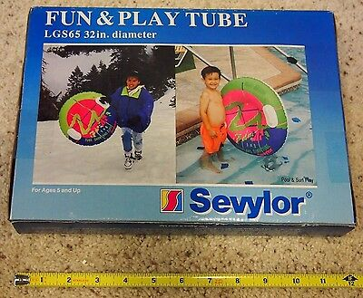 """Vintage Sevylor Fun & Play Tube Sealed LGS65 32"""" Swim Ring Water and Snow"""
